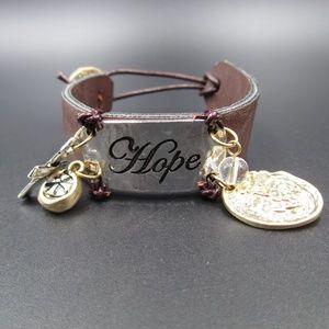 Jewelry - Vintage 8 Inch Leather Hope Charm Bracelet